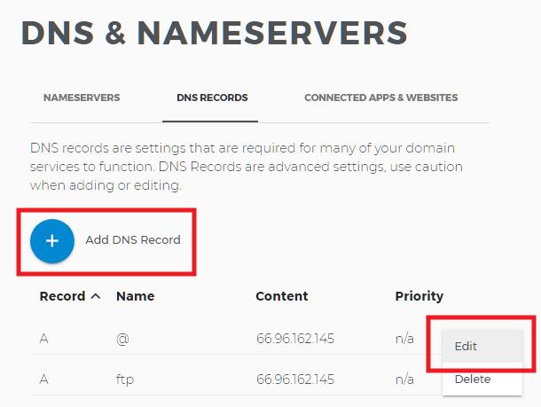 Edit DNS at Domain.com