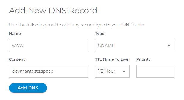 Add CNAME record at Domain.com