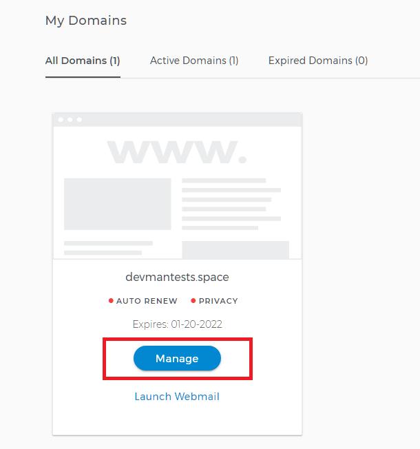 Select domain at Domain.com