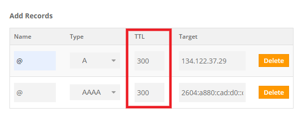Set TTL as low as possible when editing DNS