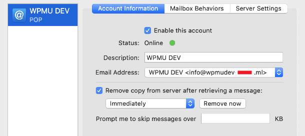 Apple Mail Configuration options