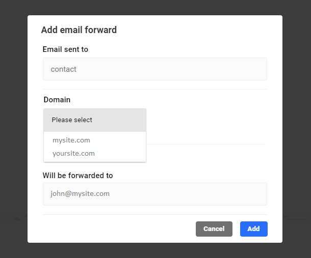 email forwarding config