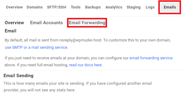 navigate to email forwarding tool