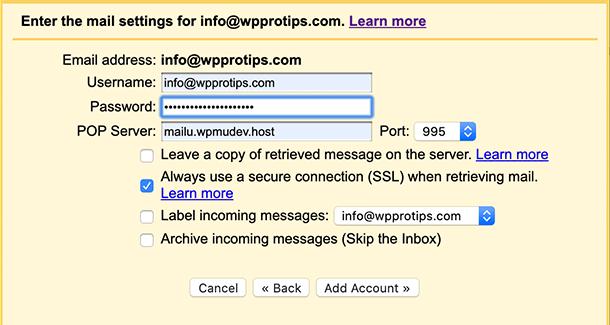 Enter credentials Gmail