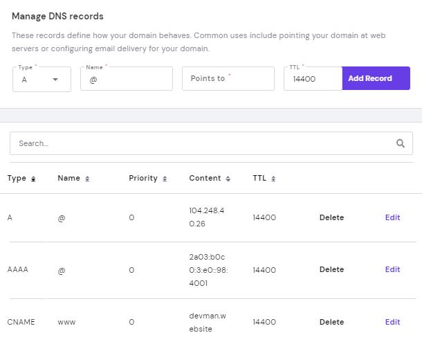 Hostinger DNS added