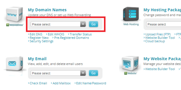 Network Solutions manage domain