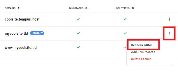 Hub 2.0 recheck acme for wildcard SSL certificate