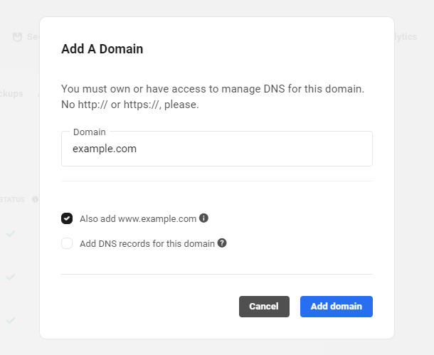Add a domain popup