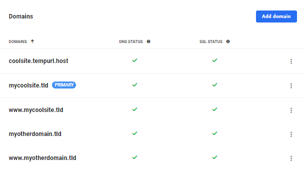 Custom domains added in the Hub