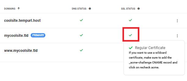 Hub 2.0 CNAME prompt for wildcard SSL certificate