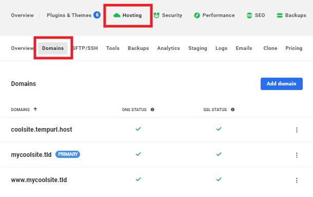 domain tab hosting dashboard