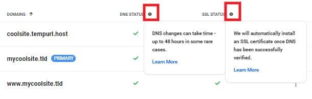 DNS and SSL info bubbles