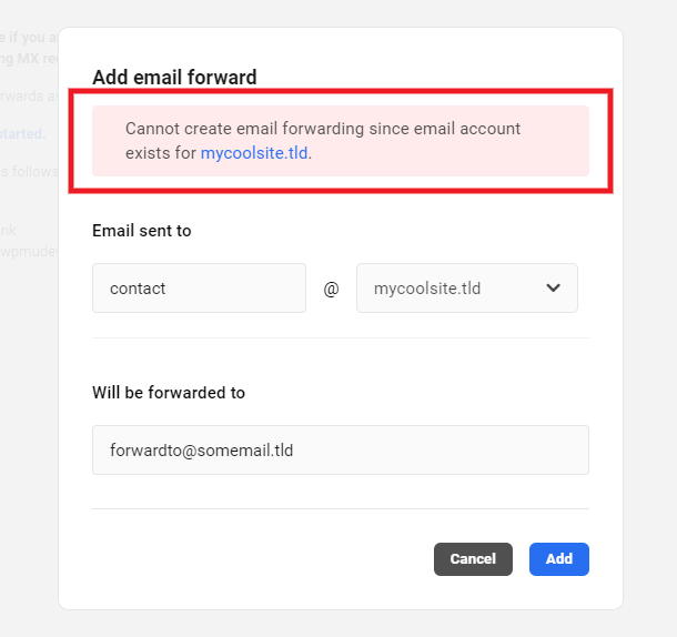 Notice when trying to create a forward where email account already exists