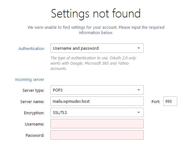 Mailbird incoming server settings