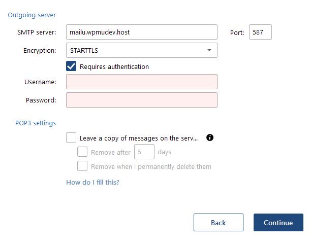 Mailbird outgoing server settings