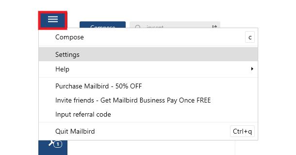 Add new account in Mailbird