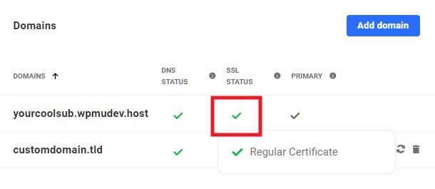 Hub 2.0 showing regular SSL certificate issued to a domain