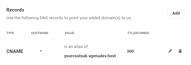 Wildcard CNAME record for subdomains