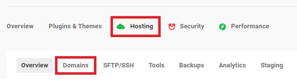 hosting dashboard domains tab