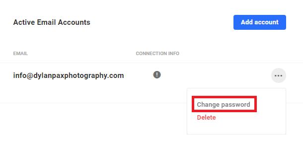 active email password change menu