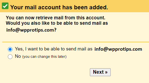 send mail as option