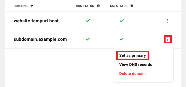 Set a subdomain as primary