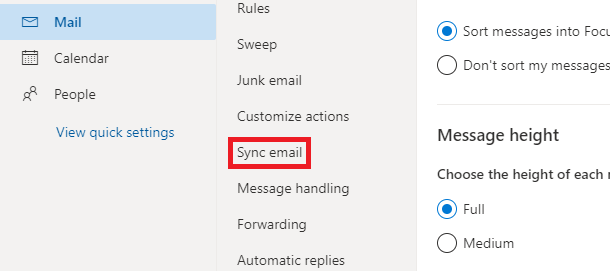 Sync email in outlook.com