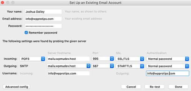 Thunderbird email advanced configuration