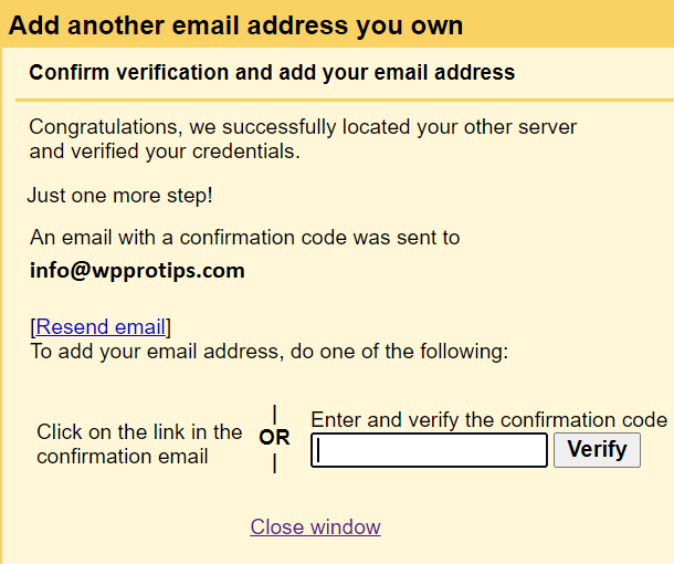 verification link and confirmation code