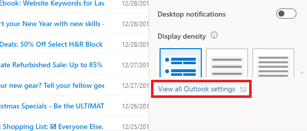 view all outlook.com settings
