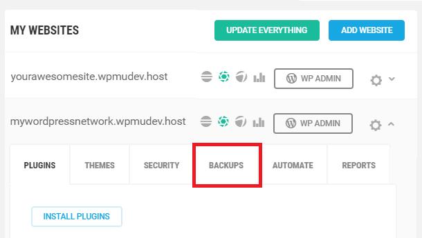 My websites backups tab