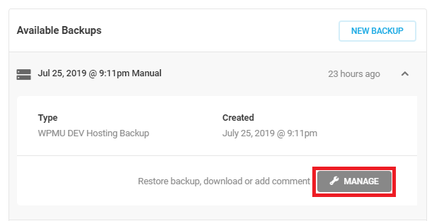 Backups Manage button