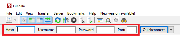Connection fields from Filezilla