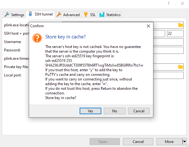Creating an SSH tunnel with HeidiSQL
