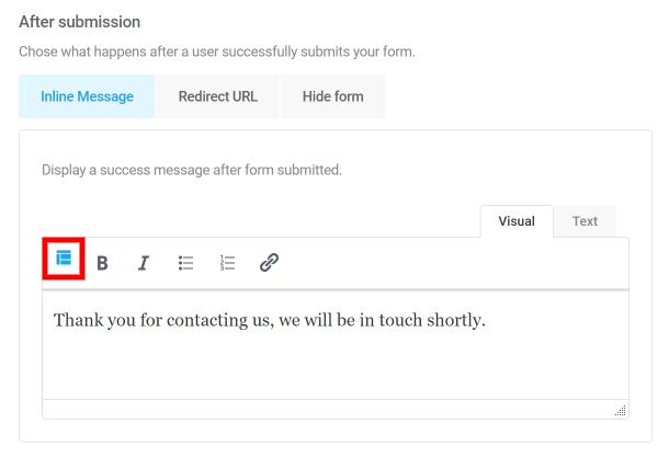 Control form submission behavior in Forminator