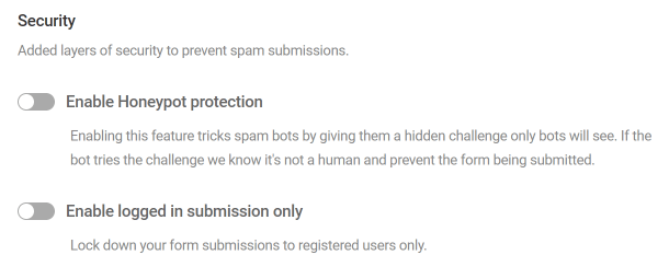 Form security options in Forminator