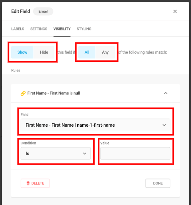 Conditional logic settings in Forminator form field