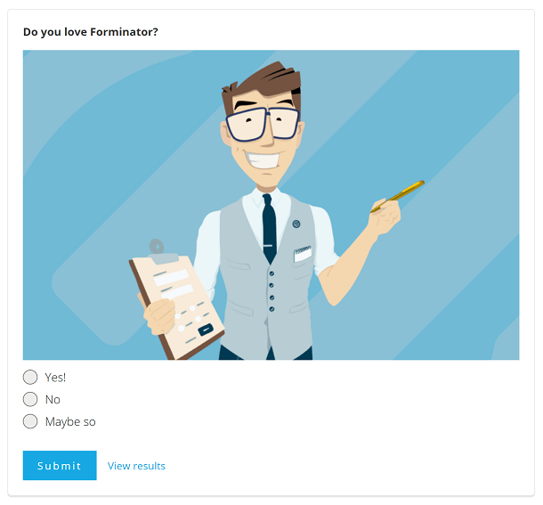 Forminator poll example with featured image