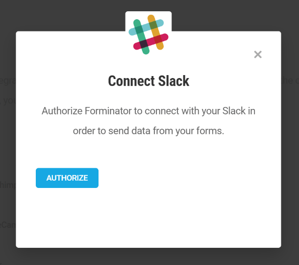 Authorize Forminator to connect with Slack