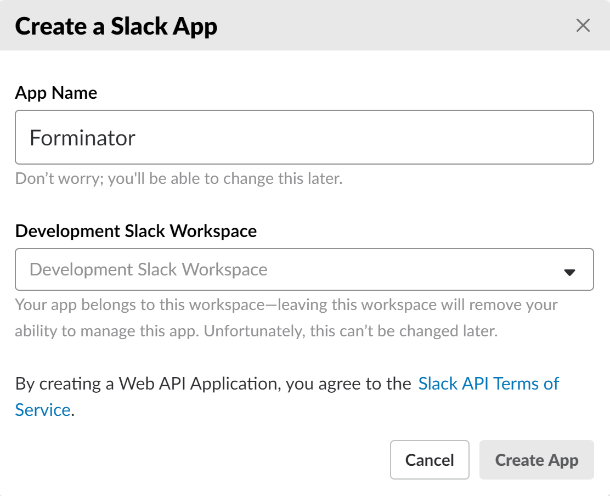 Create app in Slack for integration in Forminator