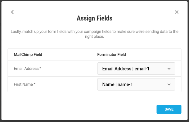 Match fields in Forminator form with MailChimp