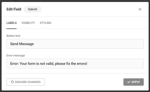 Customize submit button labels in Forminator form