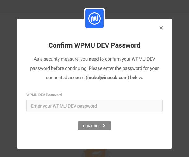 confirm WPMU DEV password