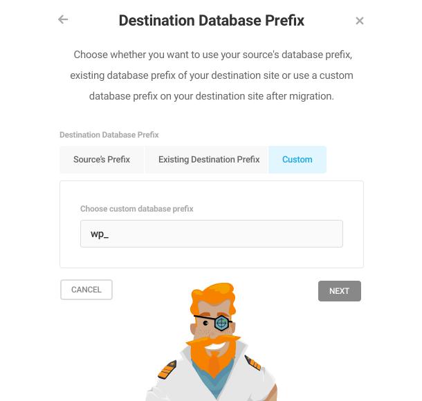 Set database prefix for Shipper migration
