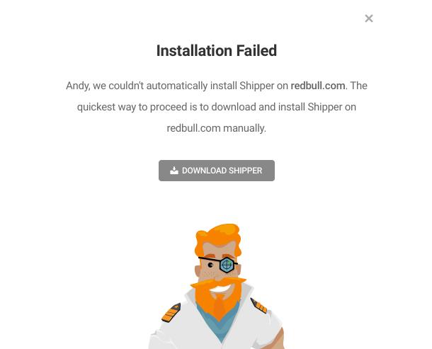 Shipper auto-install failure notice