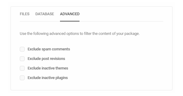 Advanced options in Shipper migration filters