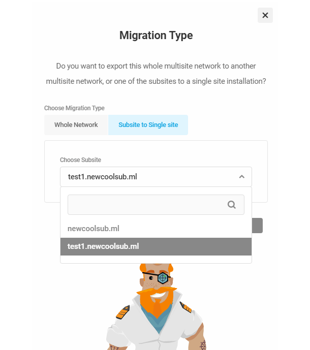 Select subsite migration type in Shipper