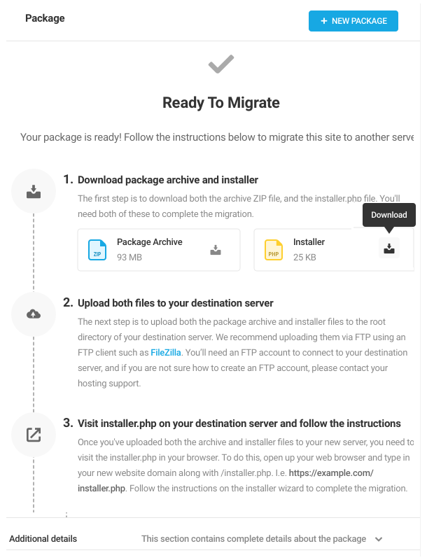 Shipper migration package ready for download