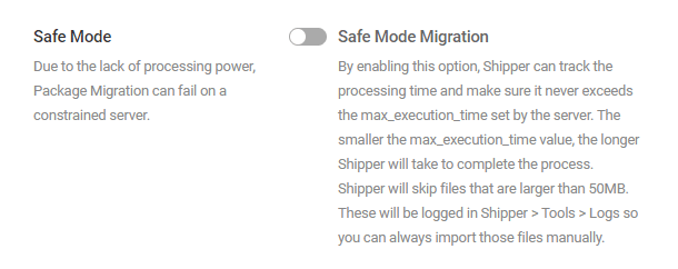 Enable safe mode in Shipper