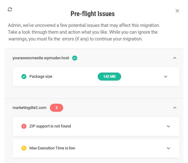 Pre-flight check results in Shipper migration